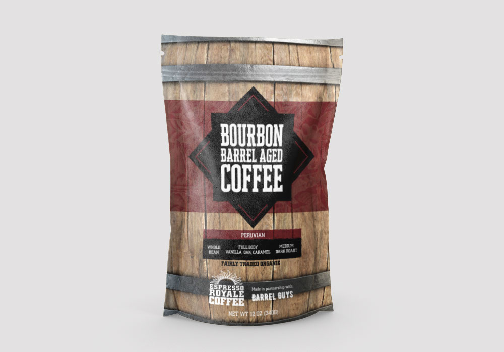 Bourbon Barrel Aged Coffee Bag Design